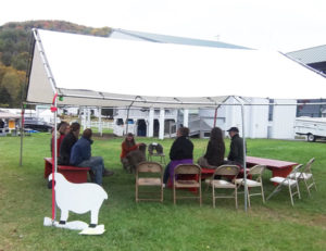 animal barntent at vermont Sheep & Wool Festival